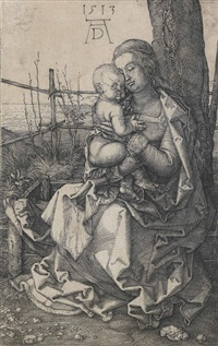 the virgin and child seated by a tree by albrecht dürer