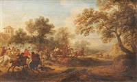 escarmouche de cavalerie et la fuite du cavalier (pair) by adam frans van der meulen