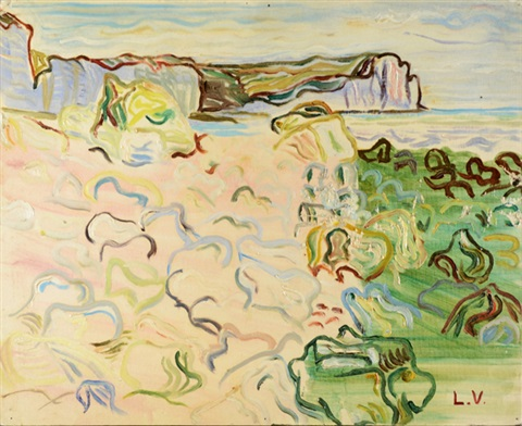beach with distant cliffs by louis valtat