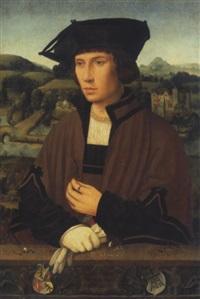 portrait d'un gentilhomme en buste tenant une fleur by jan (joannes sinapius) mostaert