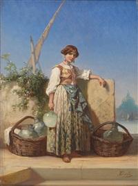 glasverkäuferin vor der silhouette von santa maria della salute in venedig by nicholas edward gabe