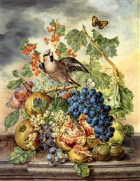 still life with song bird and fruit by anton fidler