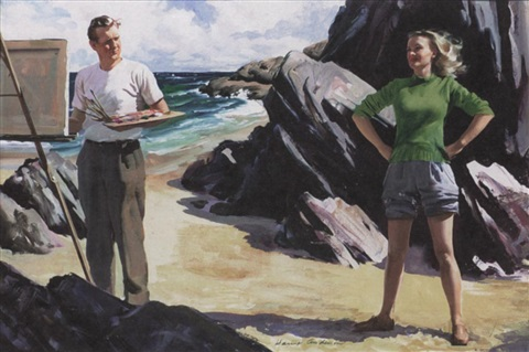 artist pauses from painting at rocky coast as young woman stops to look on by harry anderson