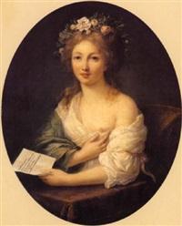 portrait de jeune fille tenant une missive dans sa main gauche by marie-victoire lemoine