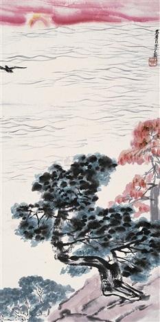 海天旭日 pines by wang qingfang