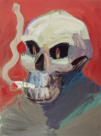 amsterdam skull with fag by ben quilty
