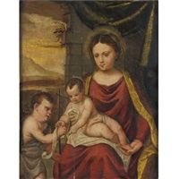 madonna and child with young st. john the baptist by francesco brini