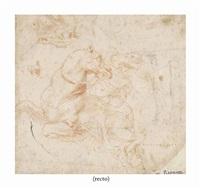 cavalier à cheval et études subsidiaires de jambes et d'une tête de cheval, d'après raphaël (recto); colonne torse et figure masculine vue de dos, tenant une lance (verso) by italian school (16)