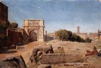 rome, l'arc de vespasien et titus by alphonse henri perin