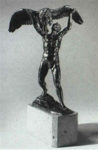 figure of a man holding an eagle by franz adolph sautner