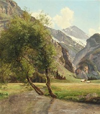 view of the alps by janus andreas barthotin la cour