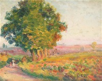 trees in a landscape by paul-emile colin