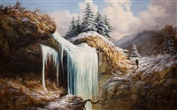winter landscape - frozen falls by william charles anthony frerichs