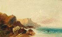 rocky coast with a fisher by andreas achenbach