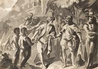 sansón ayuda a los filisteos en el sitio de dam (recto); fernando el católico las llaves de granada (verso) by francisco rodriguez pusat