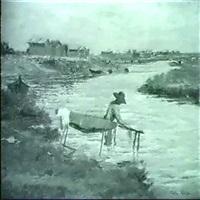 bretonische landschaft mit wascherin by guillaume alaux