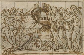 projet antique etude de figures verso by andrea appiani