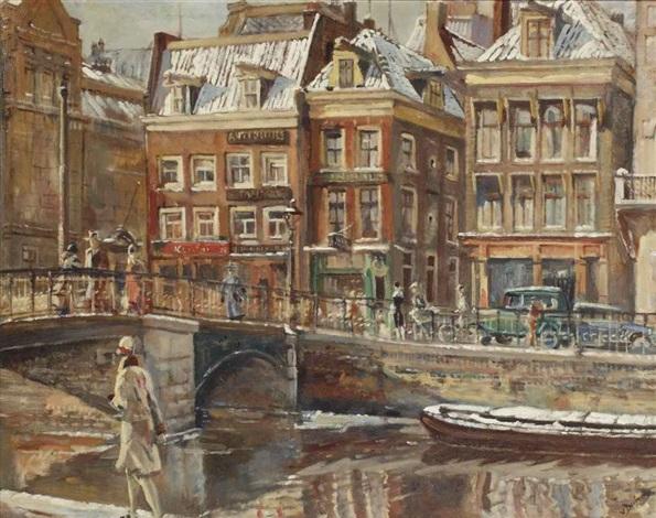 a view of the rokin amsterdam by erasmus bernhard van dulmen krumpelman