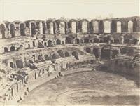 arles, vue intérieure des arènes (côté du sud) et avignon, palais des papes (côté du couchant) (2 works) by charles nègre