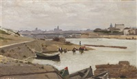 view of the environs of paris, possibly from the quai d'ivry by jean-baptiste-camille corot