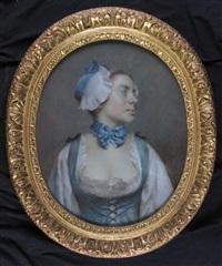 portrait de jeune femme au ruban bleu by french school (18)