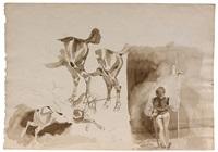 feuille d'étude avec cavaliers, chevaux et un hallebardier by eugène delacroix