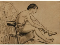 a view of a semi nude dancer seated on a rattan chair tying her ballet slippers by dame laura knight