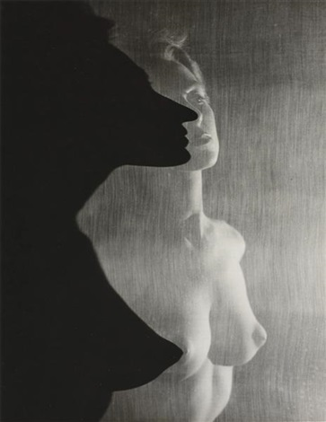 shadow profile behind veil by erwin blumenfeld
