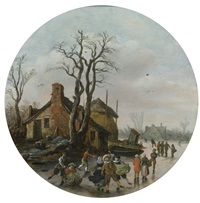 winter landscape with skaters on a frozen canal by jan josefsz van goyen