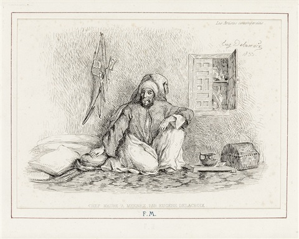 le caïd mohammed ben abou chef maure à meknez by eugène delacroix
