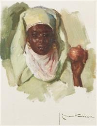 portrait de femme à la grenade by josé cruz herrera