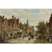 figures conversing in the streets of a dutch town on a sunny day, a hay-cart passing by by willem koekkoek and hermanus koekkoek