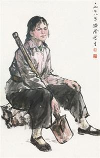 人物写生 镜框 设色纸本 by liu jirong