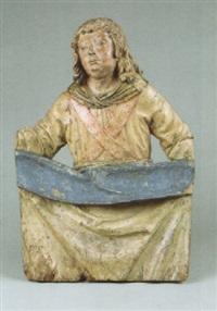 tuchhaltender engel mit hemd, faltkragen und kreuzband bekleidet by lienhart (leonard) astl