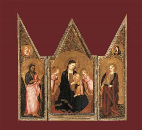 the madonna of humility with saint catherine and saint john the baptist triptych by agnolo di taddeo gaddi