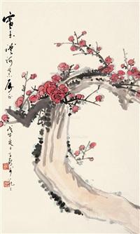 红梅 立轴 纸本 by xu zihe