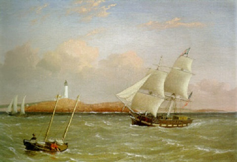 rounding the light house by fitz henry lane