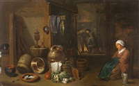 küchenstillleben mit schlafender magd by david teniers the younger