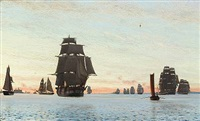 numerous sailing boats near kronborg castle by carl (jens erik c.) rasmussen