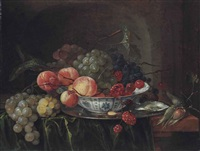 grapes and apples in a wan-li dish with oysters on a stone ledge by jan davidsz de heem