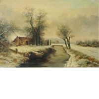 house in a snowy landscape by louis apol