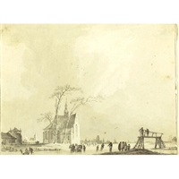 view of a frozen canal with ice skaters (+ view of a river town; 2 works) by paul van liender