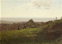 enfants sur la colline, la mer en fond by alfred-eugene koechlin