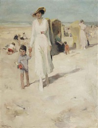 strolling on the beach by han van meegeren