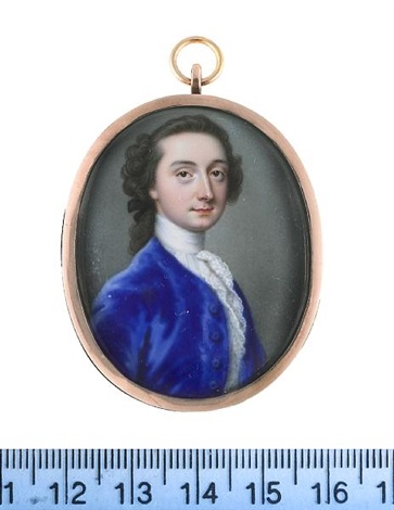 a gentleman wearing blue coat white chemise stock and lace cravat his hair worn en queue and tied with a black ribbon bow by christian friedrich zincke