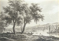 a capriccio wooded river landscape with a country house and landscaped park beyond by jacques rigaud