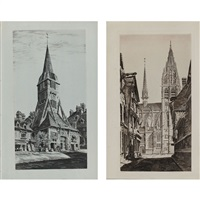 sunlight on stone; st. catherine's belfry, honfleur (from french church series) (2 works) by john taylor arms