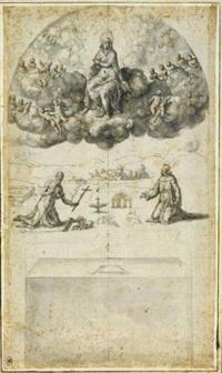 projet de décor : la vierge en gloire apparaissant à saint jérôme et saint françois by bernardino campi