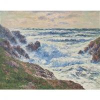 mer houleuse, côte de bretagne by henry moret