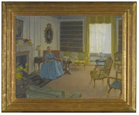 lady churchill, seated in the drawing room at 28 hyde park gate by amy katherine dugdale